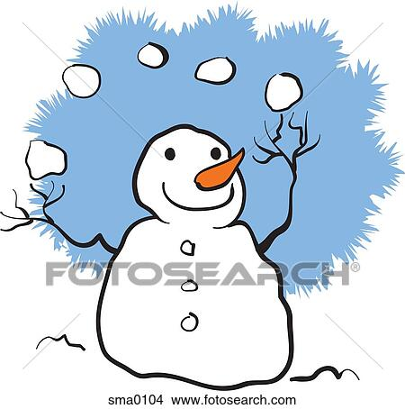 drawings of a snowman juggling snowballs sma0104 search clip art rh fotosearch com clipart snowball fight snowball clipart black and white