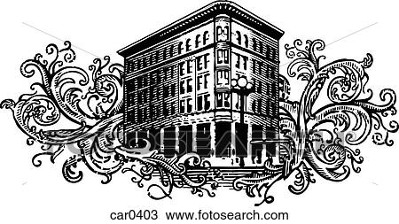 drawing of old apartment building on floral background shapes