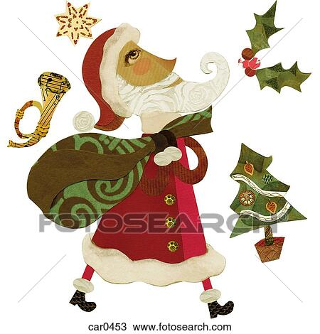 Christmas Trumpet Images.Santa Claus With A Sack Surrounded By A Trumpet Holly A Christmas Tree And A Star Drawing