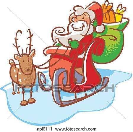 Clipart Weihnachtsmann In A Schlitten Mit A Rentier Apl0111