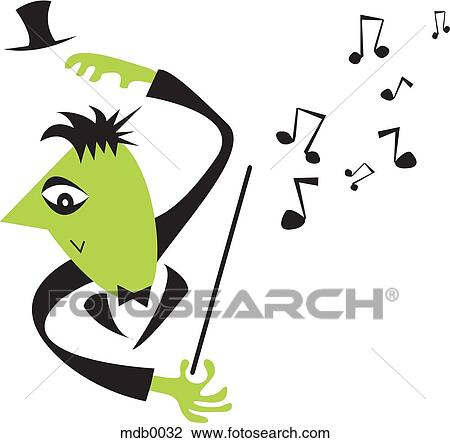 clip art of a conductor and music notes mdb0032 search clipart rh fotosearch com train conductor clipart choir conductor clipart