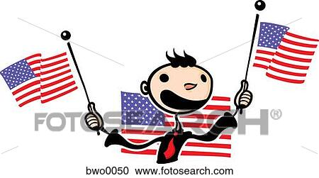 Stock Illustrations Of A Happy Man Waving American Flags Bwo0050