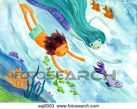 A Little Boy Swimming With A Mermaid Drawing Saj0003