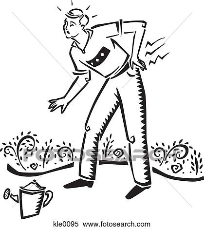 Stock Illustration Of A Man Hurting His Back While Gardening Kle0095