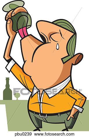 Stock Illustration A Mann Trinken Dass Letzter Von Seine