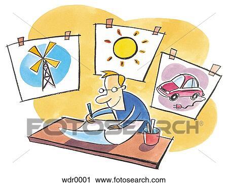 Clipart - a, mann, zeichnung, pläne, auf, alternative energiequelle ...