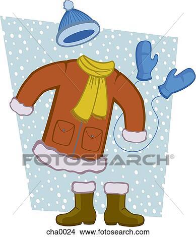 Dessins a manteau hiver charpe bottes mitaines et - Dessin de manteau ...