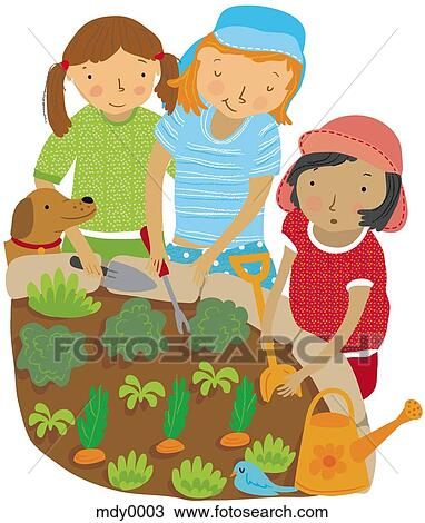 Drawing of Children planting vegetables in the garden ...