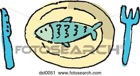 clipart of fish on a plate a fork and knife dst0051 search clip rh fotosearch com Animated Fish On a Plate Fried Fish Plate