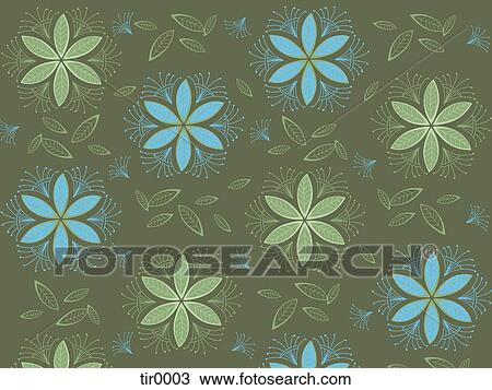 Green And Blue Flowers And Leaves Pattern Drawing Tir0003 Fotosearch