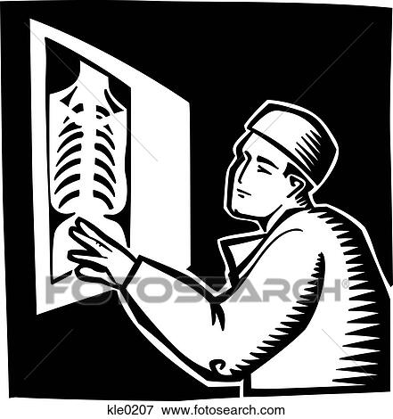 x Ray Line Drawing a Doctor Reading an X-ray