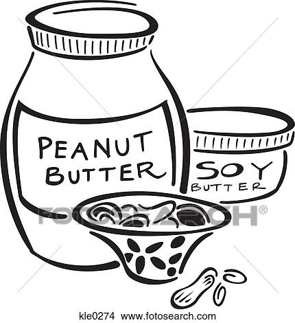 Drawings of Peanut butter,soy butter and a bowl of nuts kle0274 ...