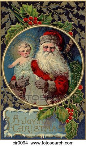 Vintage Christmas card of Santa Claus holding baby Jesus Stock ...