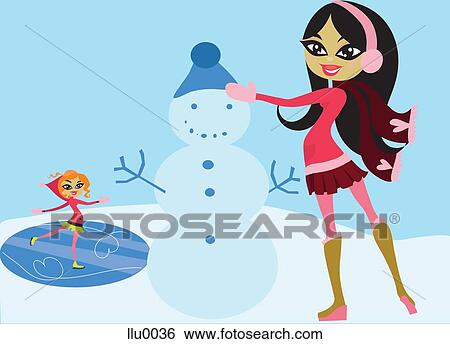 A 女の子 アイススケート そして A 女の子 建物 A 雪男 イラスト