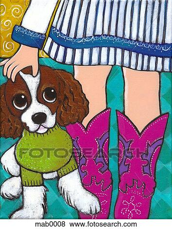A close up of a little girl in pink cowboy boots petting her pet dog Stock ...