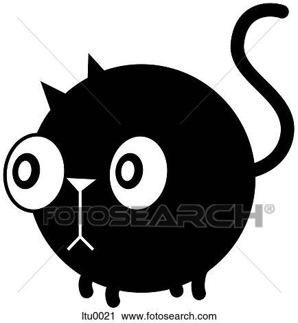 A stunned cat with big eyes Clipart ltu0021