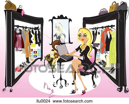 A Woman Working On A Laptop In Large Walk In Closet