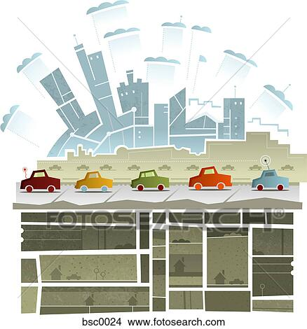 Under ground structure Building Drawing Cars Driving Along Road With City In The Background And An Underground Drawings Of Cars Driving Along Road With City In The Background