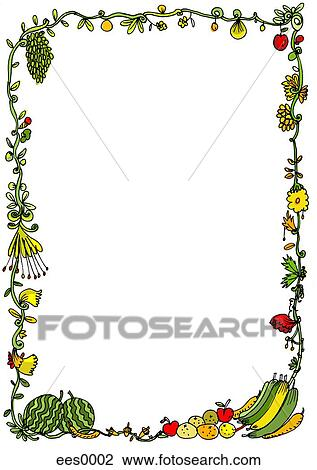 Clip art uno capriccioso cornice di frutta e fiori for Clipart frutta