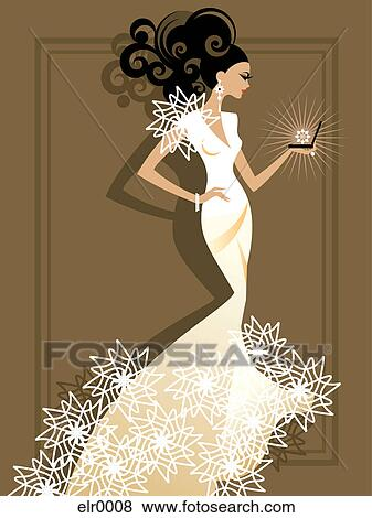 A bride opening a sparkling jewelry box Stock Illustration ...