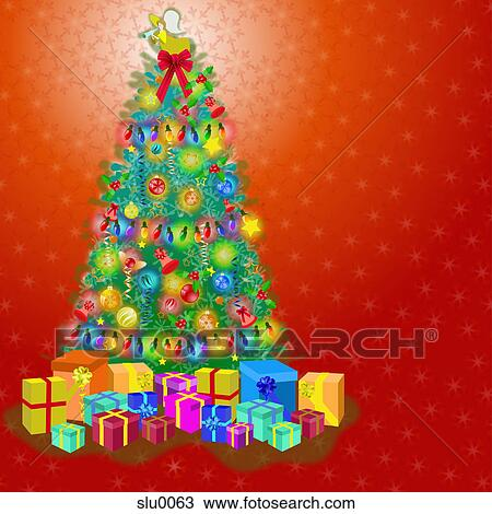 Drawing Of A Decorated Christmas Tree Slu0063 Search Clipart