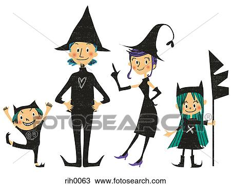 drawing of illustration of a family dressed up for halloween as