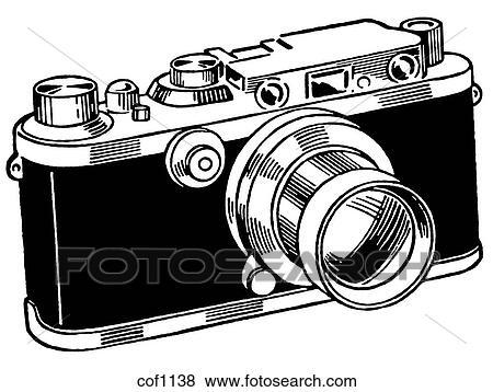 Camera Vintage Vector Free : Stock illustration of a black and white version of a vintage camera