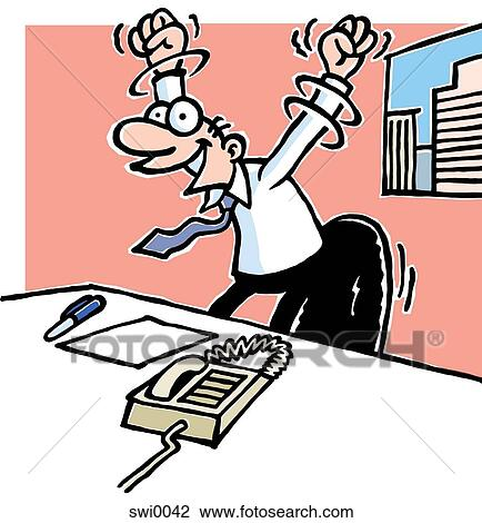 A Cartoon Drawing Of A Man At Work Desk With His Arms Held In The Air Triumphantly Drawing