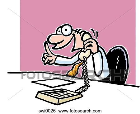 A Cartoon Drawing Of A Man Talking On The Telephone At A Work Desk Stock Illustration