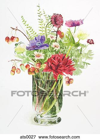 Stock Illustration - A tall vase of flowers. Fotosearch  sc 1 st  Fotosearch & A tall vase of flowers Stock Illustration | ats0027 | Fotosearch