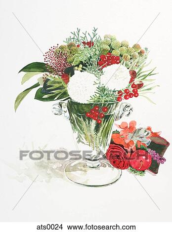 Drawings Of A Watercolor Painting Of Flowers In A Vase Ats0024