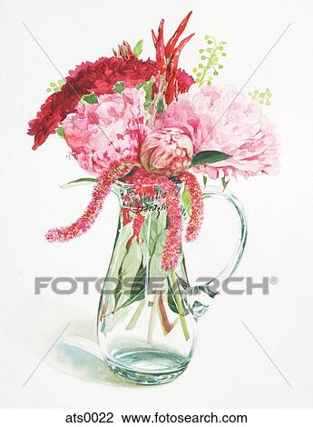 Clip Art Of A Watercolor Painting Of Red Flowers In A Vase Ats0022