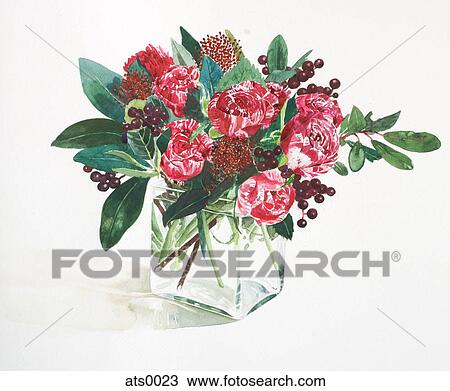Drawing Of A Watercolor Painting Of Red Flowers In A Vase Ats0023