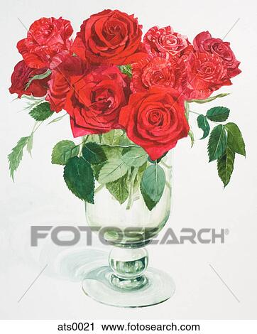 Clipart Of A Watercolor Painting Of Red Roses In A Vase Ats0021