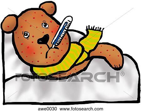 banque d 39 illustrations dessin de a ours peluche malade dans lit couvert dans rouges. Black Bedroom Furniture Sets. Home Design Ideas