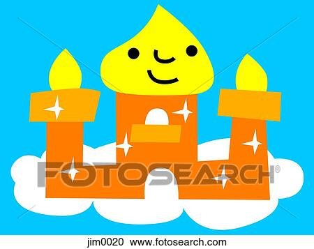 Castle On Cloud With Smiley Face Clipart Jim0020 Fotosearch