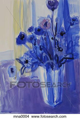 Drawings Of Painting Of Flowers Vase On Table Mna0004 Search Clip