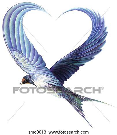 Dessin oiseau volant ailes former forme coeur smo0013 - Dessin de coeur avec des ailes ...