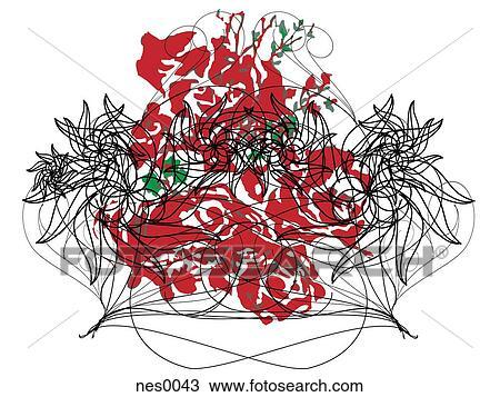 desenho um decorativo ilustração de um cacho de rosa