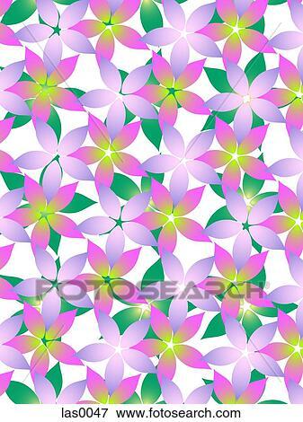 Viola E Verde Fiori Su Uno Sfondo Bianco Archivio Illustrazioni