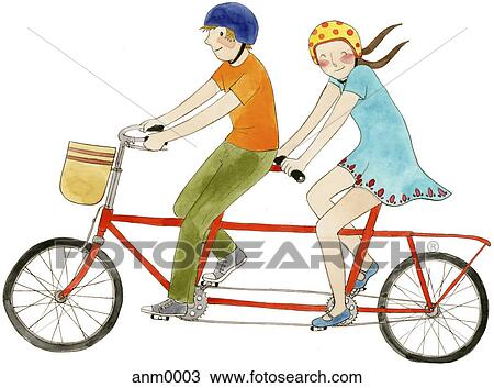 A couple on a tandem bicycle Drawing | anm0003 | Fotosearch