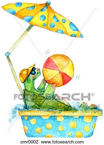 Clip Art Of A Turtle Sitting In A Kiddies Pool Under A Beach