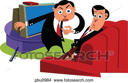 Tekeningen - twee, zakenlieden, in, een, woonkamer pbu0984 - Zoek ...