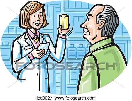 stock illustration of a pharmacist talking to a customer about his rh fotosearch com pharmacy clip art eps ai pharmacy clipart for cnc projects