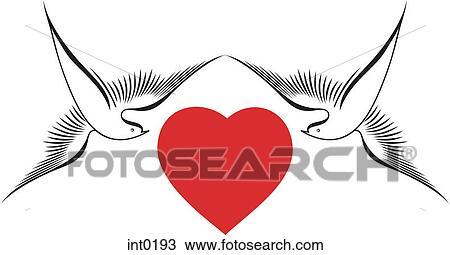 Disegno Colombe Circondare Uno Cuore Rosso Int0193 Cerca