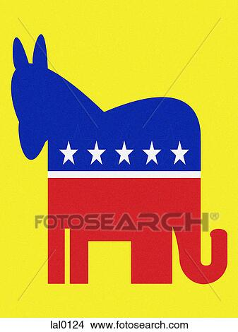 drawings of democratic donkey and republican elephant lal0124