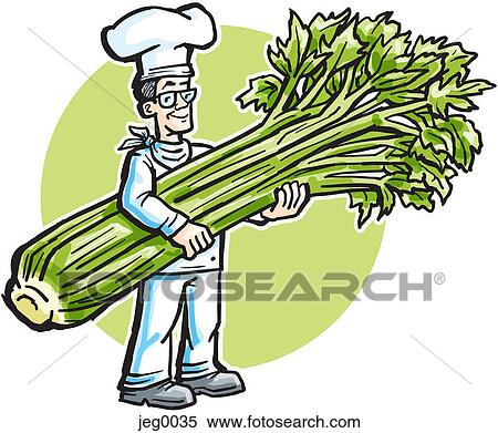 Stock Illustration of A chef carrying giant celery jeg0035 ...