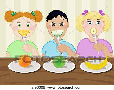 Three children eating healthy snacks Stock Illustration ...