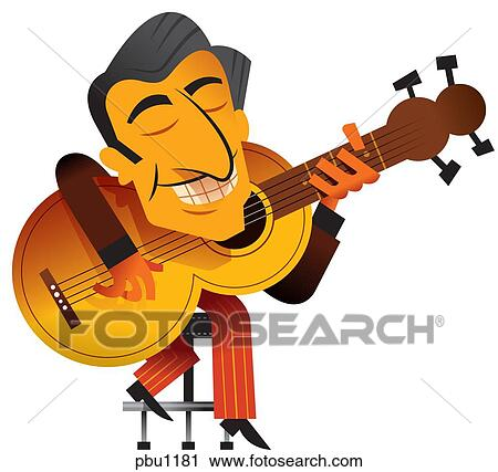 clipart of a man playing a guitar pbu1181 search clip art rh fotosearch com cartoon guitar player clipart free guitar player cartoon clipart