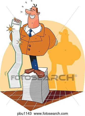 drawing of a man standing on a podium made of paper as he is holding rh fotosearch com curriculum development clipart creative curriculum clipart